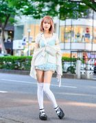 Vintage Pastel Street Style by Parca Silky Designer in Tokyo w/ Pink Hair, Lace Camisole, Lace Shorts, Polka Dot Waist Bag & Baby Doll Shoes