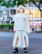 Udakyo Japanese Fashion Designer in Harajuku w/ Frilly Setup, Face Mask, Ruffled Lace Headdress, Pastel Jacket, Cutout Balloon Pants & Yosuke Gladiator Platforms