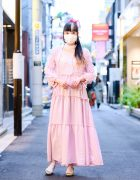RinRin Doll in Harajuku Street Style w/ Barrack Room Dress, Handmade by Aiko Miyamoto Scrunchie, Moca Tokyo Dangling Earrings & Emily Temple Cute Bow Shoes