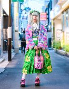 Colorful Kawaii Harajuku Street Style w/ Ash Grey Twin Tails, ACDC Rag Furry Jacket, Romantic Standard, Spinns, Floral Print, Decotoland, Yuriko Eto Tote & WC Dragon Shoes