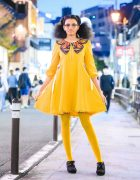 Tokyo-Based Model in Harajuku w/ Youlanda Butterfly Dress, Mustard Yellow Tights & Coche et Coche Ankle Booties
