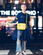 Japanese Stylist Bunta Shimizu in Harajuku w/ Molly Goddard Tulle Dress, Richard Quinn Flowers & Melissa