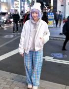 Ezaki Nanaho in Harajuku w/ Pretty Lavender Hair & Nadia Bomber