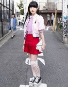Pink Nadia Harajuku Jacket, Cropped Sweater, Pleated Skirt & Platforms