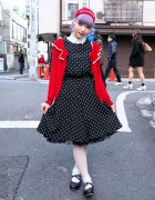 Lavender Hair, Polka Dot Swing Dress & Cardigan in Harajuku