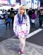 Dip Dye Hair, Tie Dye Hoodie, Unicorn Cap & Converse in Harajuku