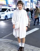 Cute Short Hairstyle With White Vintage/Resale Fashion in Harajuku