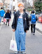 Neon Moon Owner w/ Orange Hair, Denim Overalls & Vans in Harajuku