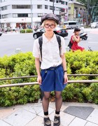 Newsboy Hat, Bucket Backpack & Leopard Creepers in Harajuku
