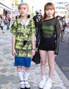 Yoda Backpack, Crop Top, Platform Sandals & Nose Ring in Harajuku