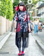 Harajuku Girl in Kanji Print Fashion from Never Mind the XU w/ O-Ring Choker & Geta