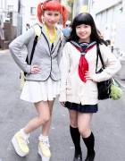 Orange Twin Tails, Sailor Fuku & Lego Man Earrings in Harajuku
