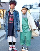 Resale-Loving Harajuku Duo in Overalls, Acid Wash, Quilted Jacket & Platforms