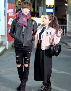Harajuku Couple in Vivienne Westwood, Biker Jacket, Faux Fur & Platforms