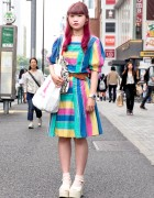 Rainbow Dress, Princess Castle Tote & WEGO Platform Sandals in Harajuku