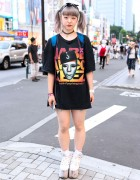 Pastel Hair, Resale Top, YRU Platforms & LEGO Backpack in Harajuku