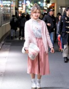 Pretty Pastel Harajuku Fashion w/ Cardigan, Faux Fur Clutch & Gaucho Pants