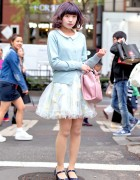 Pastel Cardigan, Secret Honey Sheer Floral Skirt & Samantha Thavasa Handbag in Harajuku