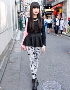 Harajuku Girl w/ Peplum Top, Comic Leggings & Unif Platform Booties
