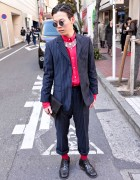 Japanese Guy's Retro Hairstyle & Pinstripe Suit in Shibuya