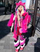Pink Harajuku Look w/ Monster Hoodie, Furry Leg Warmers & Striped Tights