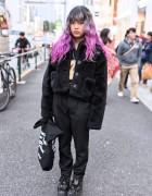 Pink Dip Dye Hair, Furry Jacket & Tokyo Bopper Platforms in Harajuku
