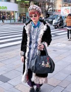 Shearling Coat, Alice Black Jewelry & Pink-tipped Hair in Harajuku