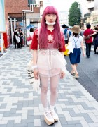 Pink Hair, Sheer Dress, Rocking Horse Shoes & Fishnets in Harajuku