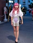 Pink Hair, Print Mini-Skirt, Platform Heels & Quilted Purse in Harajuku