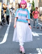 Pink Hair, Platform Sandals, Yo-Kai Watch & Sebon Star Necklace in Harajuku