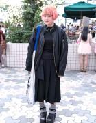 Pink Bob, Oversized Bomber, Huge Bag & Comme des Garcons in Harajuku