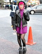 Pink Hair, Studded Leather Jacket, Knit Dress & Platform Sneakers in Shibuya