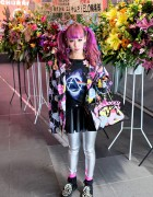 Pink Hair, Pink Floyd, Silver Tights & Zebra Creepers in Harajuku