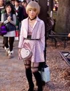 Pink Polka Dot Dress, Pink Heart Bag & Pink Leather Jacket in Harajuku