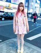 Pink Hair, Nile Perch Teddy Bear Dress & Cherry Badge in Harajuku