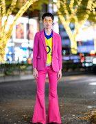 Pink Suit With Flare Pants, Yellow Arsenal O2 Shirt & Batman Sneakers in Harajuku