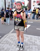 Pink Twintails, Lego Earrings, Sheer Top & Panda Platforms in Harajuku