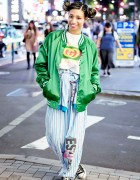 Harajuku Girl in Pinnap Fashion w/ Vintage Esleep & Converse High Tops