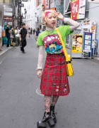 Colorful Harajuku Street Style w/ Monster T-shirt, Tartan Skirt & Platform Boots