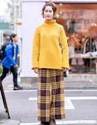 Vintage Knit Sweater, Plaid Wide Leg Pants & Egypt Tote Bag in Harajuku