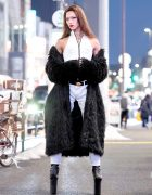 Super Tall High Heels by Pleaser, Faux Fur Coat & For Your Pleasure Japan Street Style