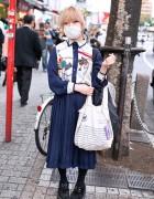 Purple Lenses, Pleated Skirt & Holland America Bag in Shibuya