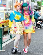 Harajuku Girls w/ Colorful Hair in Pokemon Fashion & Tie Dye