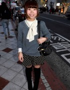 Japanese Girl in Polka Dot Shorts & Over-the-Knee Boots