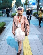 Colorful Bangs Hairstyle, Leather Jacket, Sheer Skirt & Button Bag