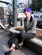 Purple Bob Hairstyle, Red Lipstick & Dior Platform Heels in Shibuya
