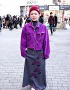 Pink Hair, Purple Denim Jacket & Piercings in Shibuya