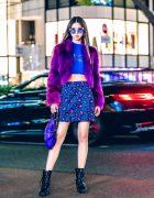Japanese Fashion Model in Harajuku w/ Purple Faux Fur Jacket, Purple Glasses & Kate Spade Skirt