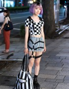 Purple Hair, Crop Top, Harness & Crayon Shin-chan in Harajuku