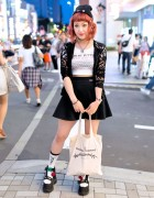 """Push My Buttons"" Top, K3 Platform Sandals & Vivienne Westwood in Harajuku"